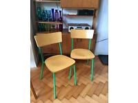 Green retro style plywood chairs from John Lewis (like Habitat Hester chairs)