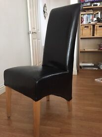 6 x Genuine leather dining chairs
