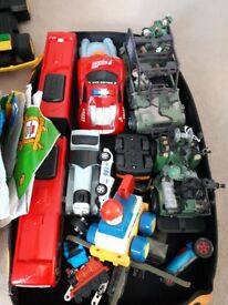 Toys including bus and truck