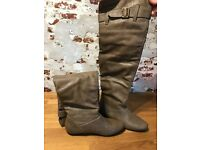 Warehouse Size 3.5 Flat Brown Knee High Boots