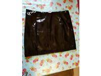 BNWT Black PVC look Topshop mini skirt. Size 14