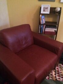Leather armchair burgundy in excellent condition