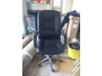 Office swivel and rocker chair black with height adjuster