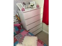 White Ikea malm bedside drawers 6 drawer set matching desk with drawer and desk with pink chair