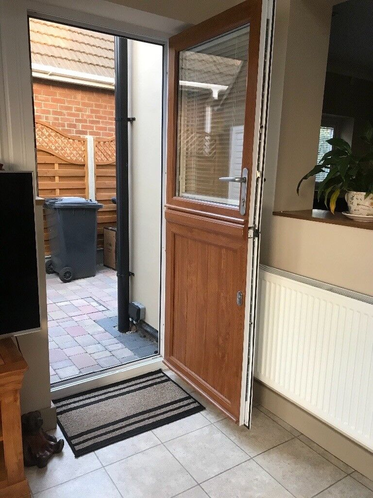 Upvc Barn Door White Interiormid Oak Exterior Finish In