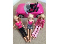 Barbie Convertible Car plus 3 Barbie Dolls