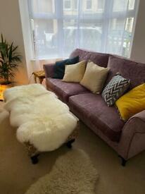 Velvet Sofa like new Designer 4 seater Blush Pink
