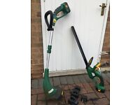 Cordless hedge trimmer and grass strimmer.