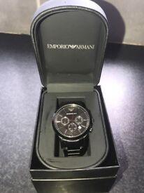 Men's black emporio armani watch