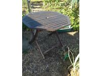 Wooden patio table and 4 matching chairs