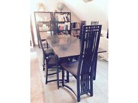 Black lacquered Habitat dining table and 6 Mackintosh style high back chairs