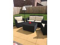 4 Piece Black Rattan Garden Furniture Set
