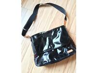 Stork Sak - Black Patent Changing Bag