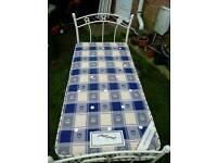Single white metal 3ft bed frame and mattress