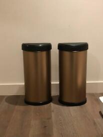 Two kitchen bins gold rose