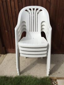 Set of 4 white High back garden chairs