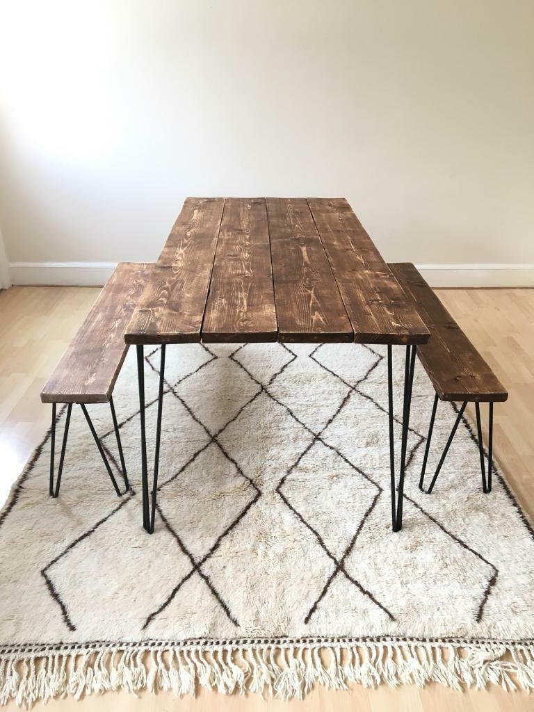 Dining Table And Bench Made In Uk Rustic Industrial Reclaimed Wood