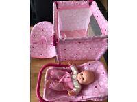 Baby dolls rocker seat, car seat and crib