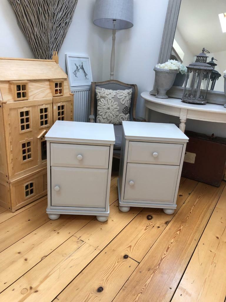 Grey Bedside Tables: Shabby Chic Grey Bedside Tables