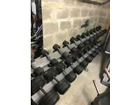 Jordan Fitness dumbbell rack and bodymax dumbbells, 5-40kg pairs
