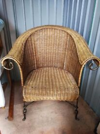 John Lewis solid wicker armchair with metal feet and legs - contemporary design