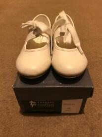 Girls White Tap Shoes - Good Condition - Size 8