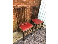 Four vintage 19th century dining chairs. Red leather seat pads. RESTORATION PROJECT