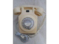 BT wall hanging dial telephone, 1970s, GPO 741, cream, CONVERTED, wall bracket
