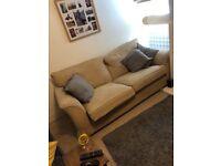 3 peice cream sofa with puff