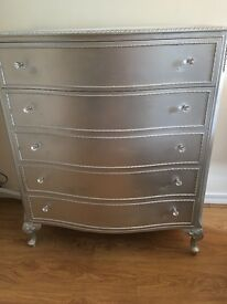 Stunning silver drawers with diamond knobs