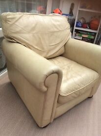 FREE leather armchair.Cream. 38in depth. 32in high. 37in wide. Needs a clean. General wear,no rips