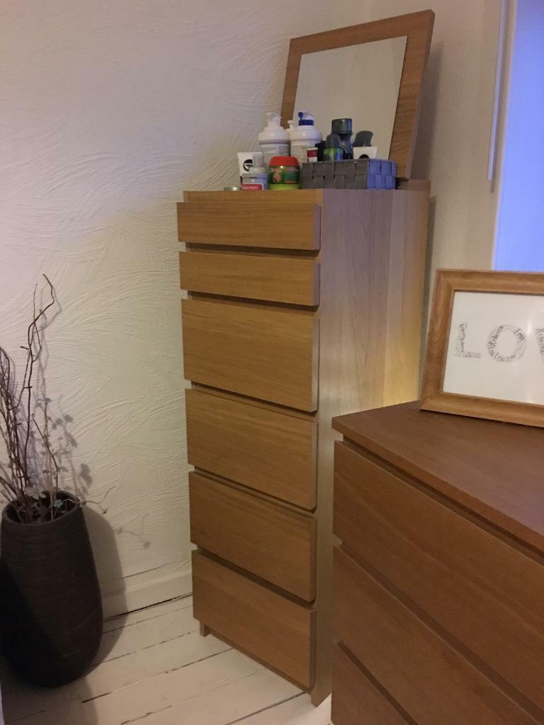 Oak Veneer Bedroom Furniture Ikea Malm Oak Veneer Bedroom Set In East Kilbride Glasgow