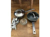 Cooking pots, glass bowls and 16pcs cutlery
