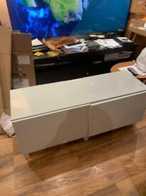 Ikea besta tv bench 120cm wide with drawer and shelf option comes with glass top