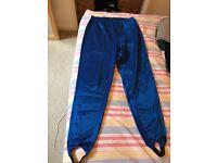 vintage metallic blue leggings/sweatpants, Large,