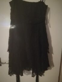 Mid length black lace gothic style dress