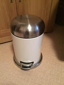 Brushed Chrome & White Mini Pedal Bin