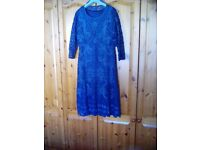 Ladies lace dress and jacket size14 length 46in midnight blue worn once