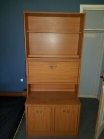 NEEDS A HOME BY WEDNESDAY Wood Shelving Cabinet with double cupboard, fold out drawer and 2 shelves
