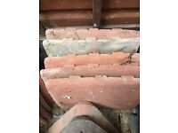 Antique red redland clay roof tiles: 4 tiles, each one measures 24 by 27cm