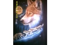 FOR SALE WOLVE SCREEN PRINTED HOODIES PRINTED ON FRONT AND BACK OF HOODIE.