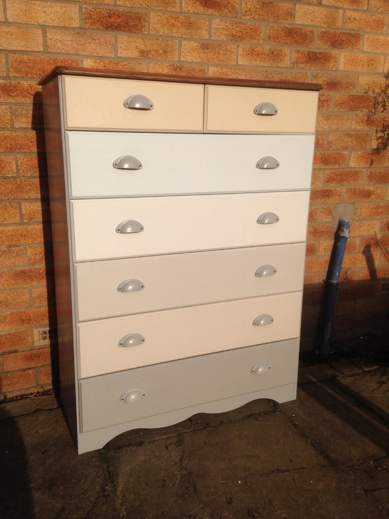Pine Chest Of Drawers Refurbished Shabby