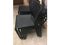 8 bistro chairs. Black. Used but in good condition. Suitable for indoor and outdoor use.