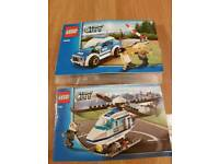 Lego city police patrol car and helicopter