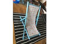 Blue patterned deck chair