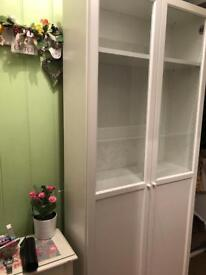 White double Billy bookcase with half glass doors
