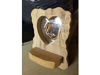 Solid wood heart mirror with small shelf