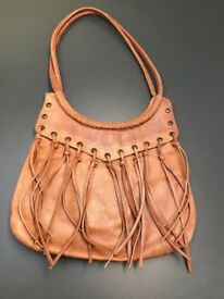 Tan leather shoulder bag with tassel detail 100% leather