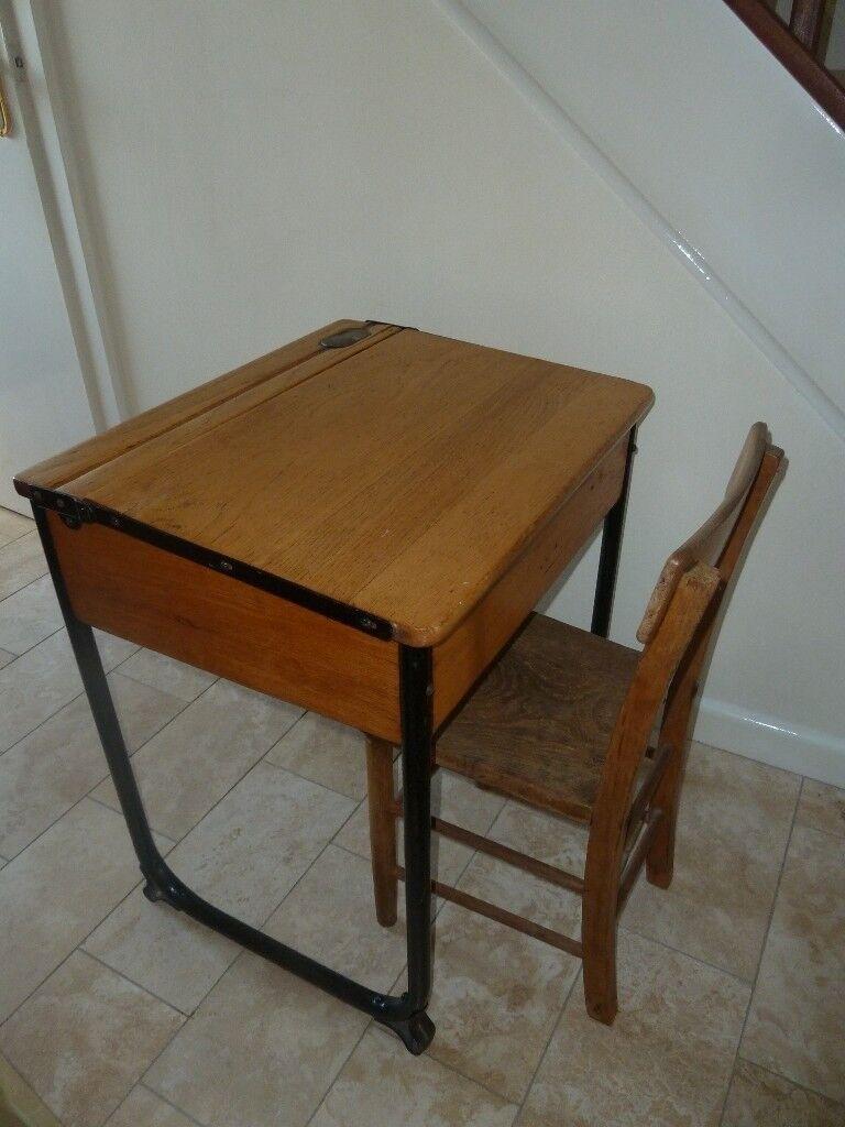Vintage Child S Wooden Flip Top School Desk Chair