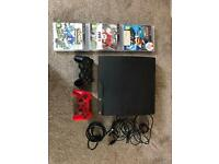 PS3 slim 120gb console + 2 controllers + 3 games